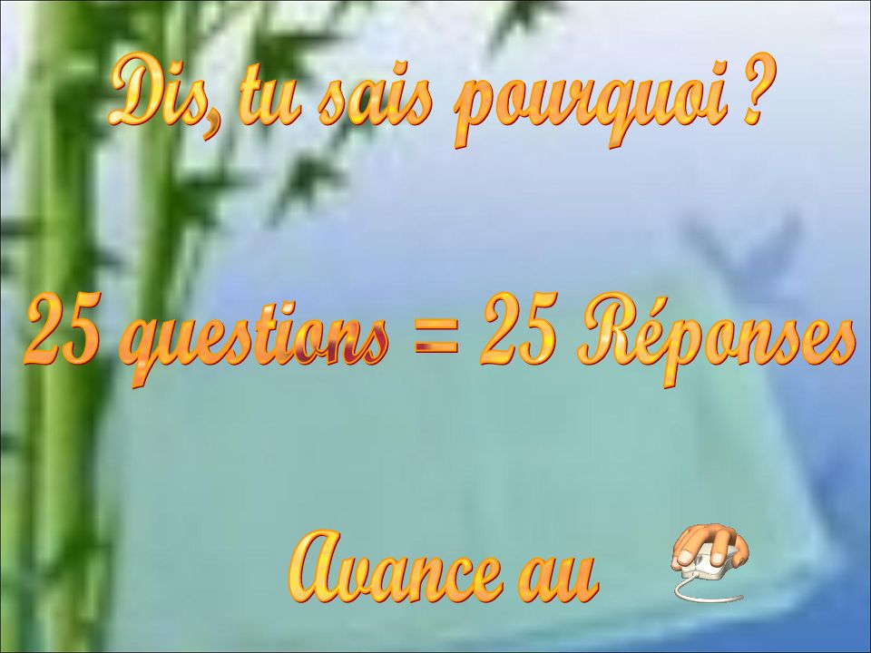 Dis, tu sais pourquoi 25 questions = 25 Réponses Avance au