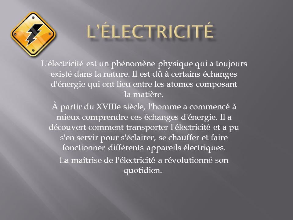 La maîtrise de l électricité a révolutionné son quotidien.