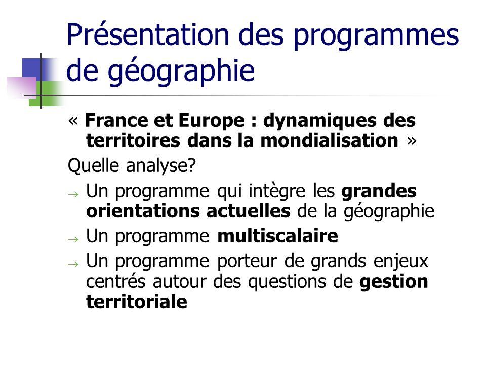 Présentation des programmes de géographie