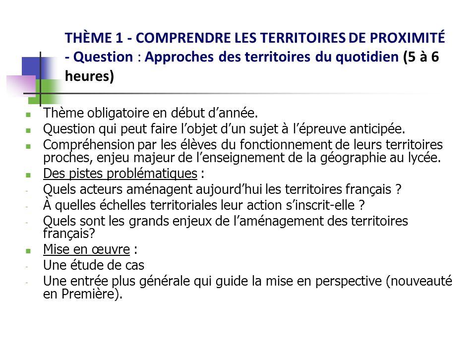 THÈME 1 - COMPRENDRE LES TERRITOIRES DE PROXIMITÉ - Question : Approches des territoires du quotidien (5 à 6 heures)