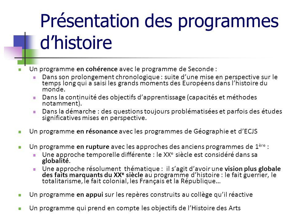 Présentation des programmes d'histoire