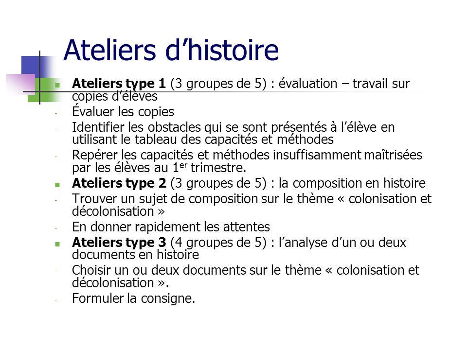 Ateliers d'histoire Ateliers type 1 (3 groupes de 5) : évaluation – travail sur copies d'élèves. Évaluer les copies.