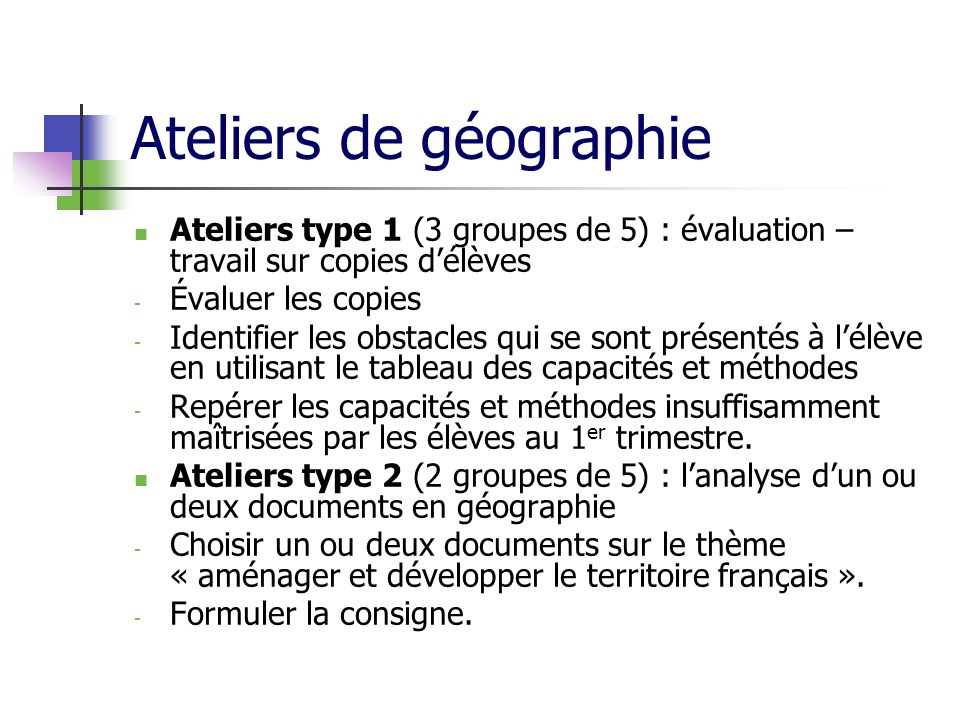 Ateliers de géographie