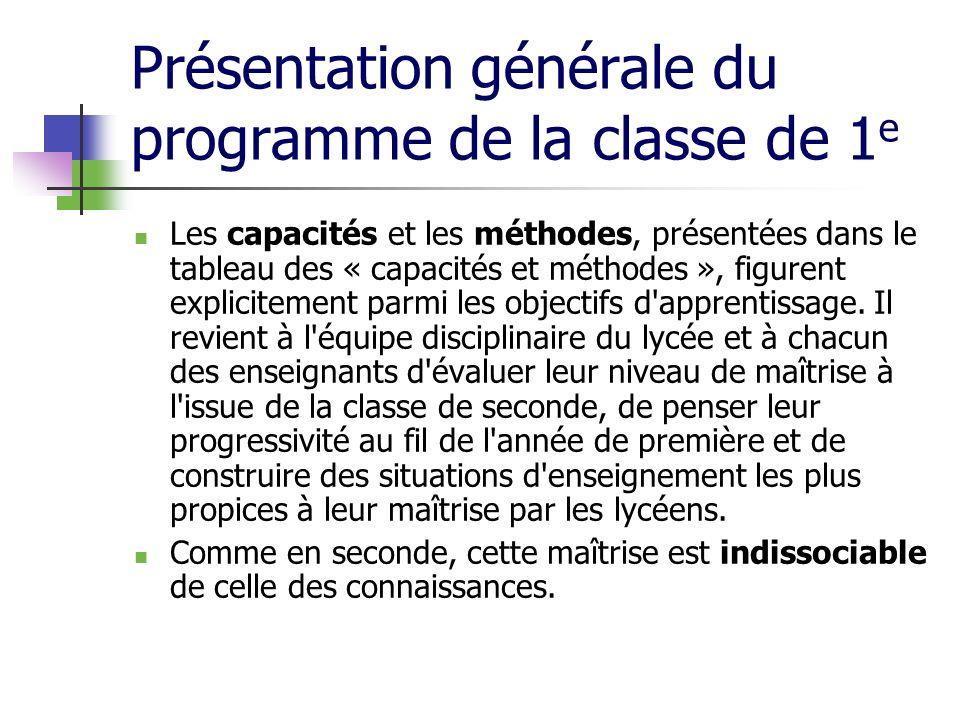 Présentation générale du programme de la classe de 1e