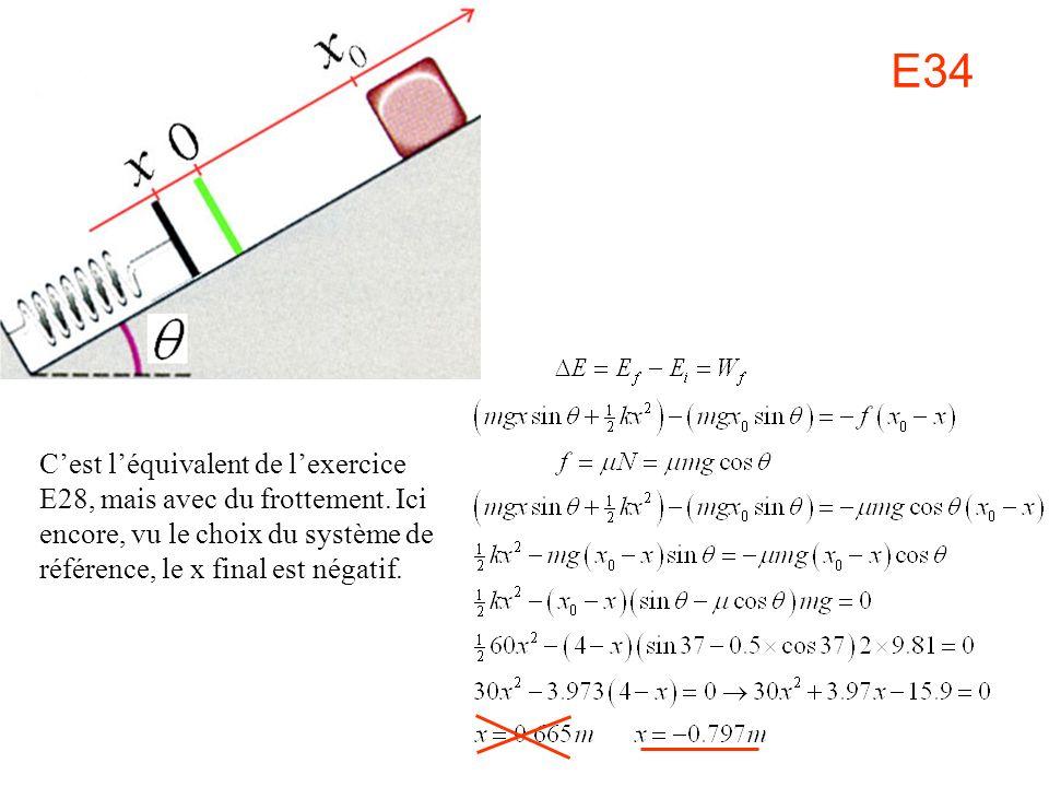 E34 C'est l'équivalent de l'exercice E28, mais avec du frottement.