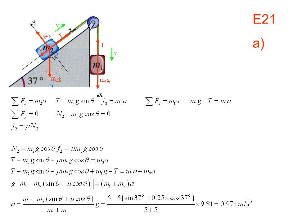 E21 a) v x m1g y N2 T f2 37o m2g
