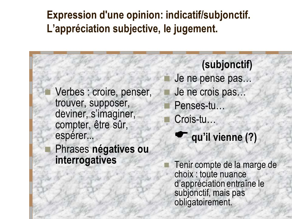 Expression d une opinion: indicatif/subjonctif