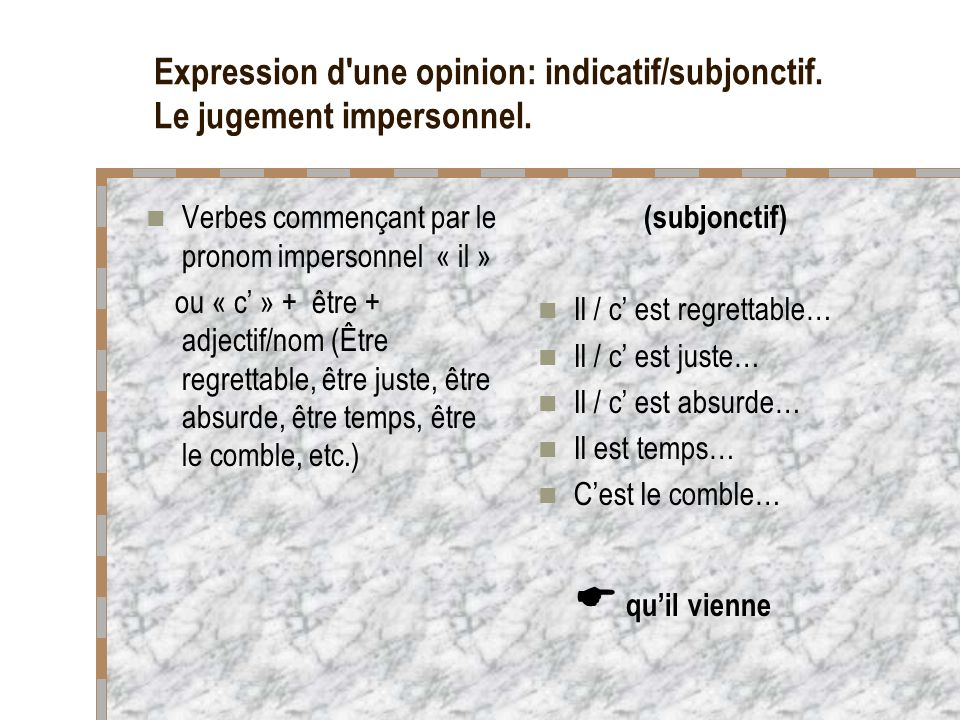 Expression d une opinion: indicatif/subjonctif. Le jugement impersonnel.