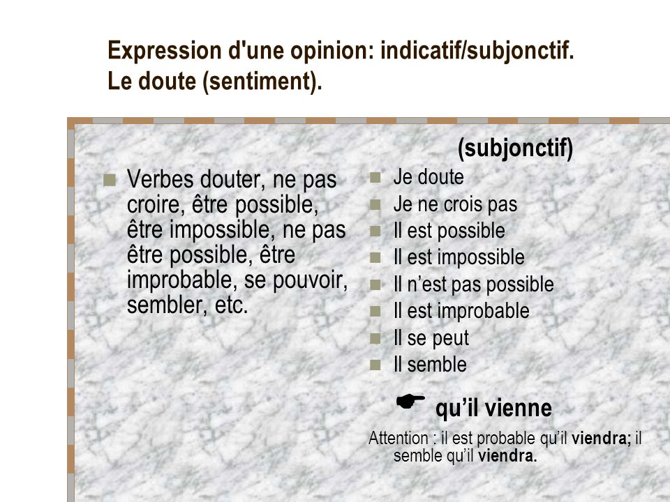 Expression d une opinion: indicatif/subjonctif. Le doute (sentiment).