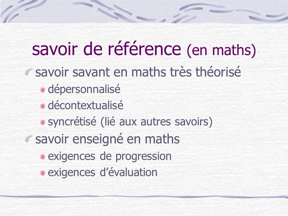 savoir de référence (en maths)