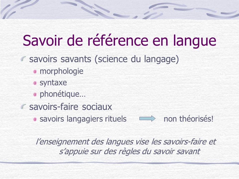 Savoir de référence en langue