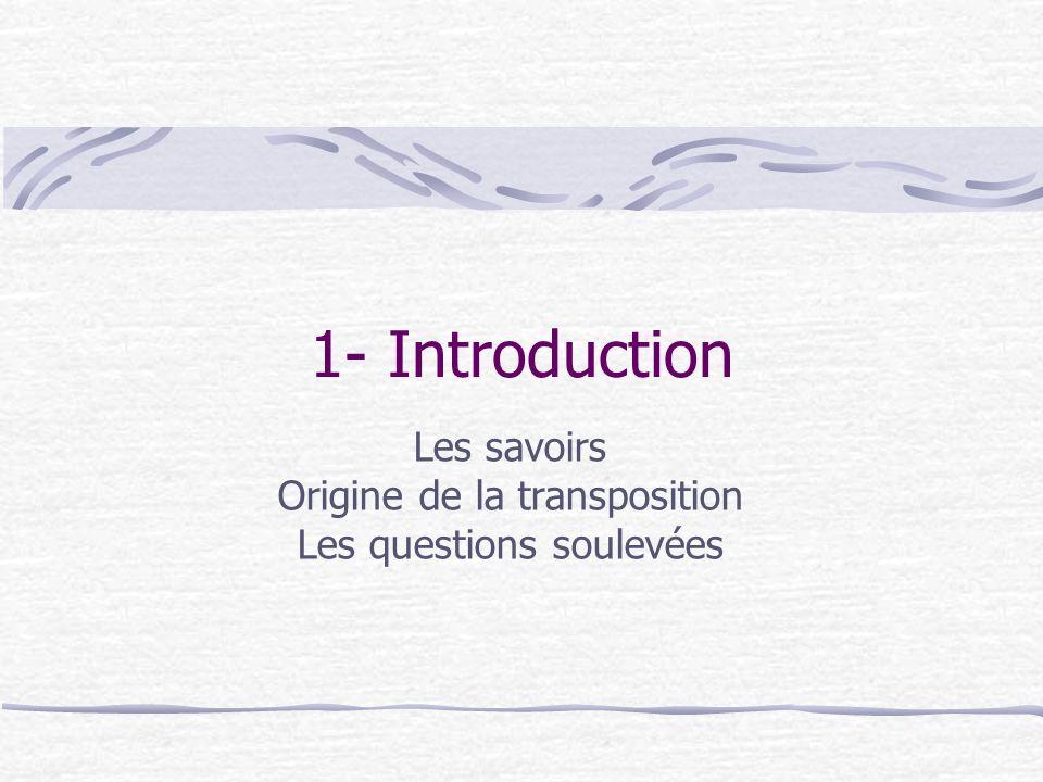 Les savoirs Origine de la transposition Les questions soulevées