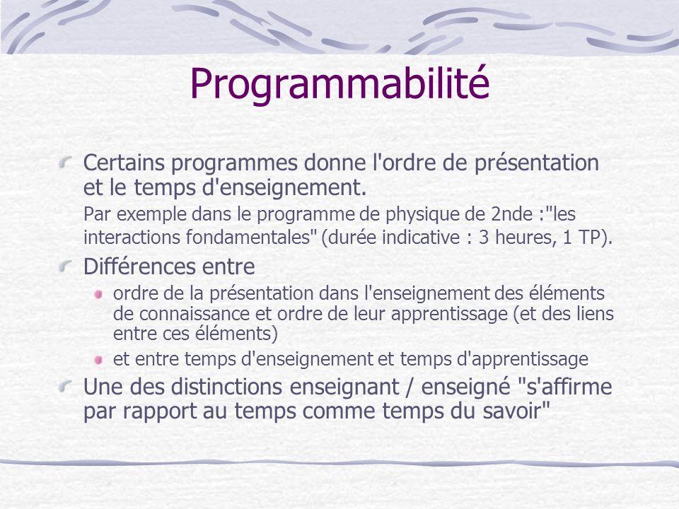 Programmabilité Certains programmes donne l ordre de présentation et le temps d enseignement.