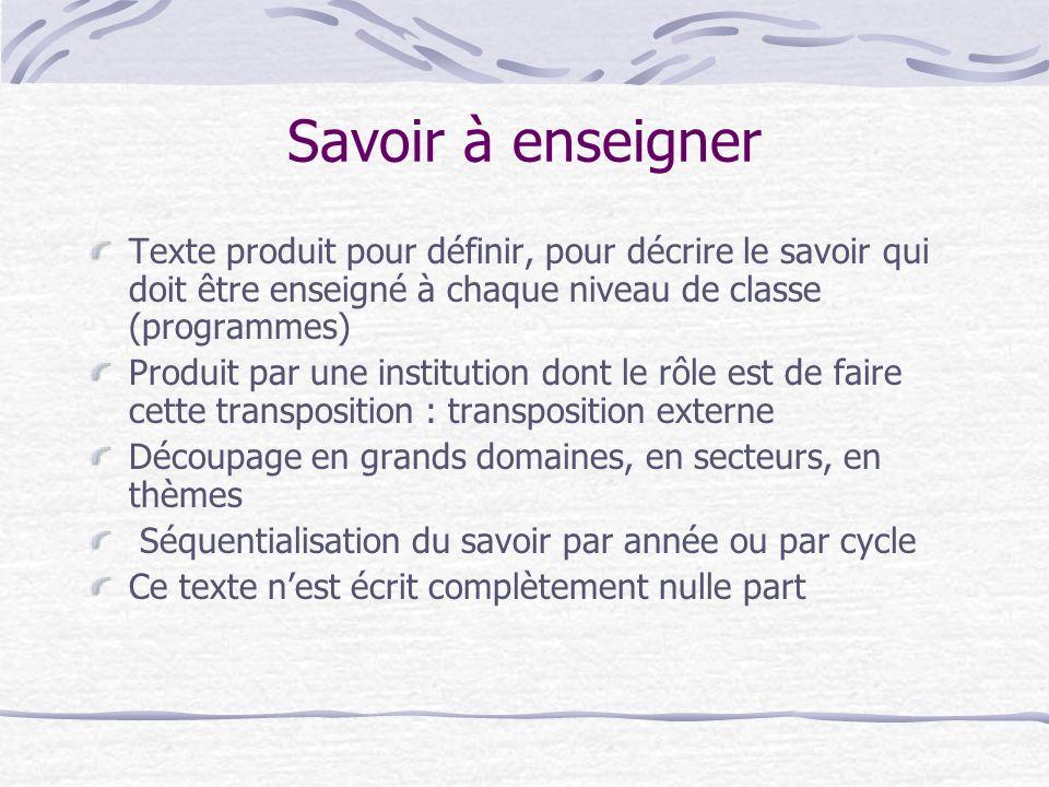 Savoir à enseigner Texte produit pour définir, pour décrire le savoir qui doit être enseigné à chaque niveau de classe (programmes)