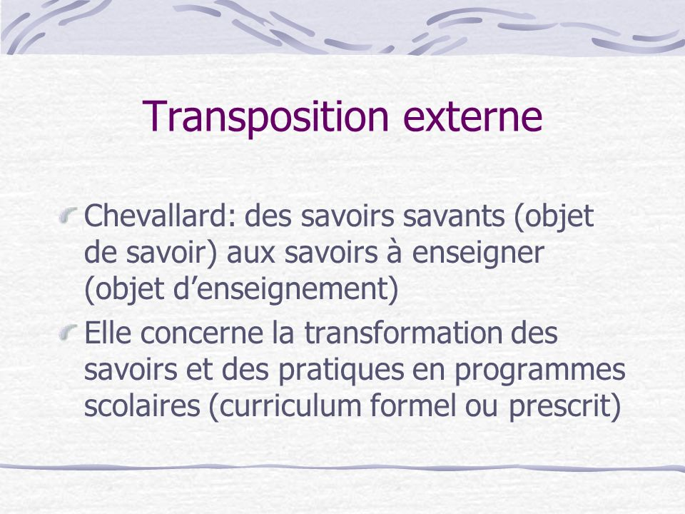 Transposition externe