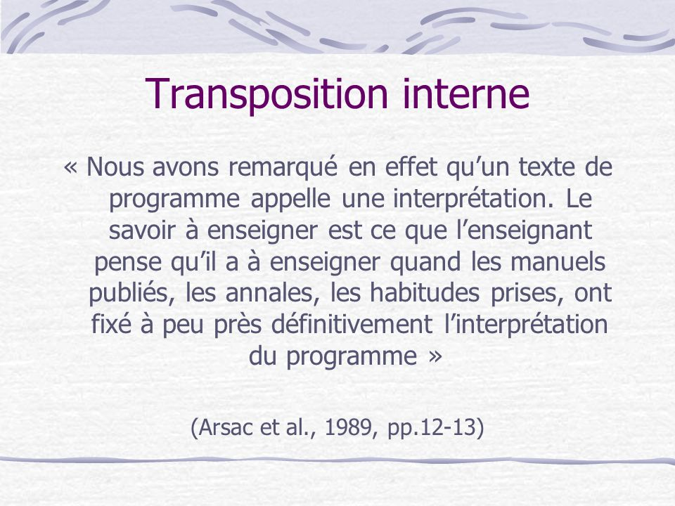 Transposition interne