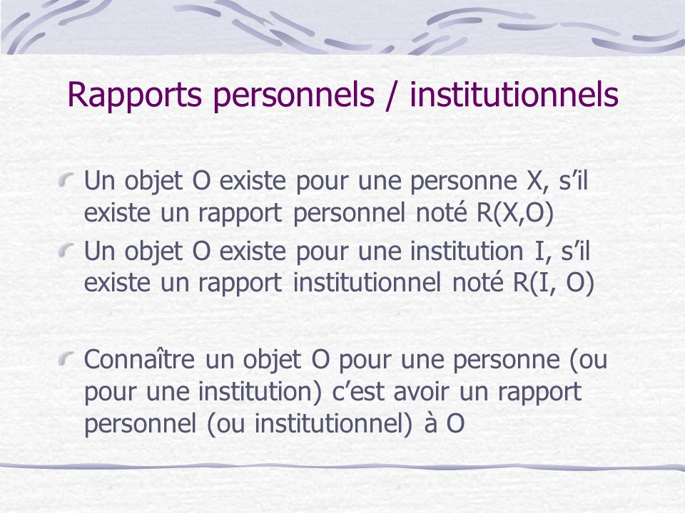 Rapports personnels / institutionnels
