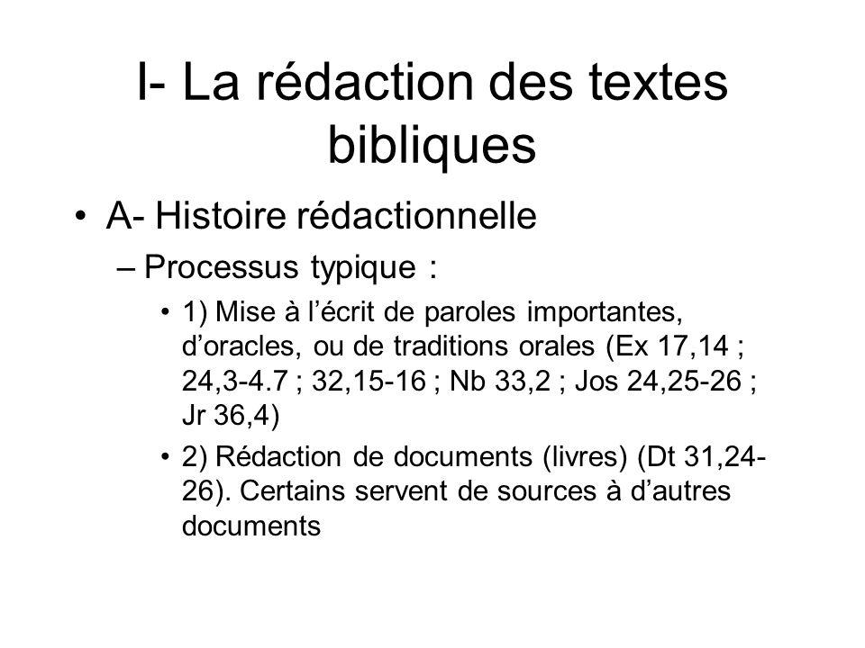 I- La rédaction des textes bibliques