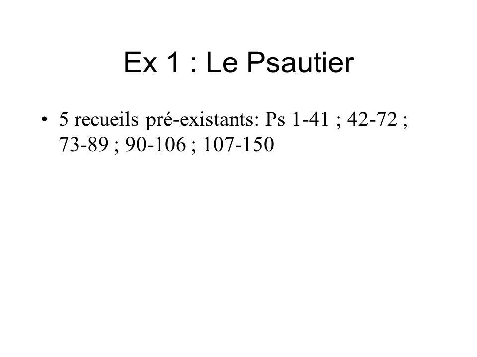 Ex 1 : Le Psautier 5 recueils pré-existants: Ps 1-41 ; 42-72 ; 73-89 ; 90-106 ; 107-150