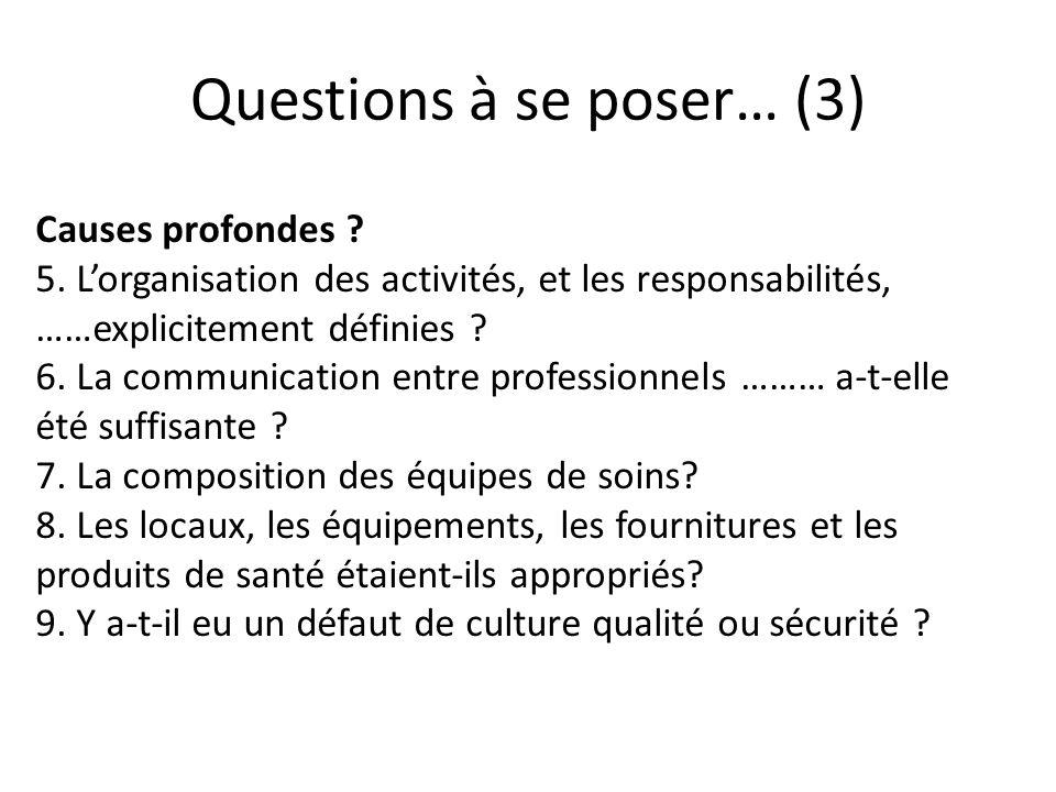 Questions à se poser… (3)