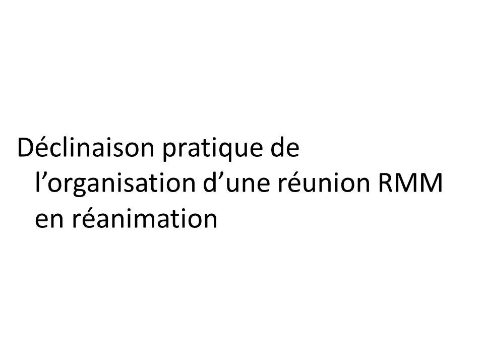 Déclinaison pratique de l'organisation d'une réunion RMM en réanimation