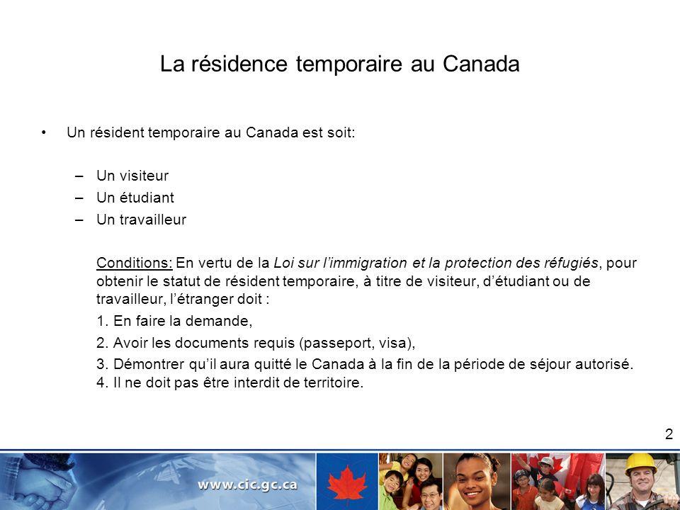 La résidence temporaire au Canada