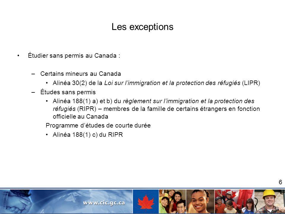 Les exceptions Étudier sans permis au Canada :
