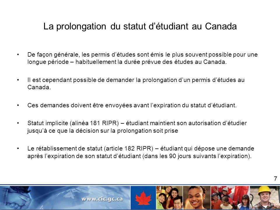 La prolongation du statut d'étudiant au Canada