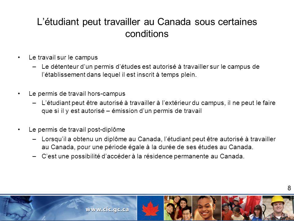 L'étudiant peut travailler au Canada sous certaines conditions