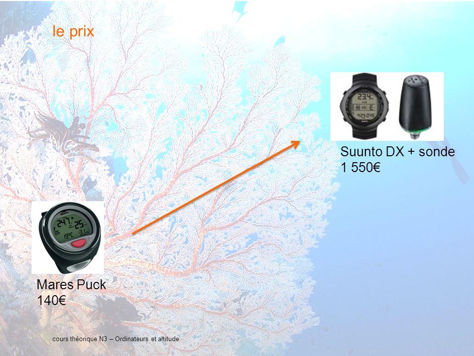 le prix Suunto DX + sonde 1 550€ Mares Puck 140€