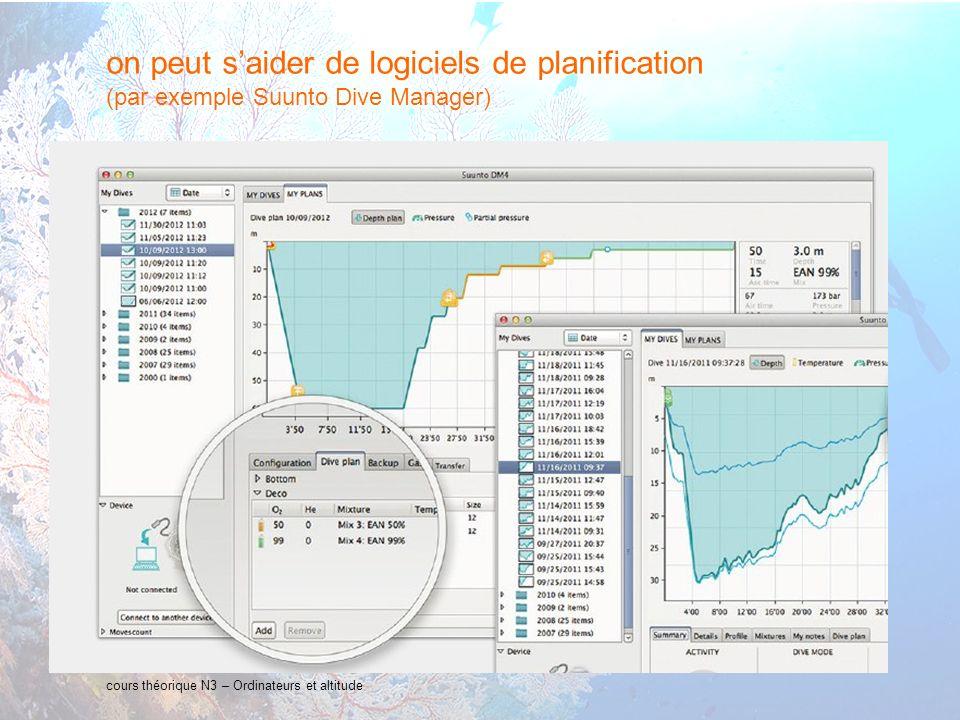 on peut s'aider de logiciels de planification (par exemple Suunto Dive Manager)
