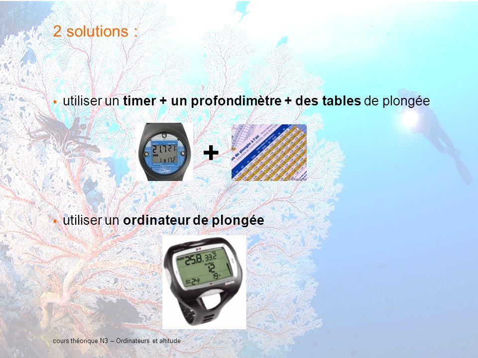 2 solutions : utiliser un timer + un profondimètre + des tables de plongée. utiliser un ordinateur de plongée.