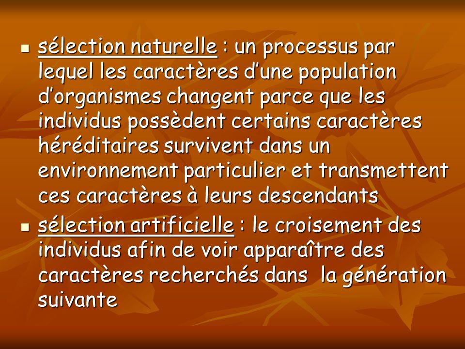 sélection naturelle : un processus par lequel les caractères d'une population d'organismes changent parce que les individus possèdent certains caractères héréditaires survivent dans un environnement particulier et transmettent ces caractères à leurs descendants