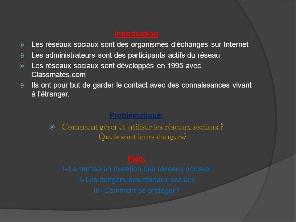 Introduction Les réseaux sociaux sont des organismes d'échanges sur Internet. Les administrateurs sont des participants actifs du réseau.