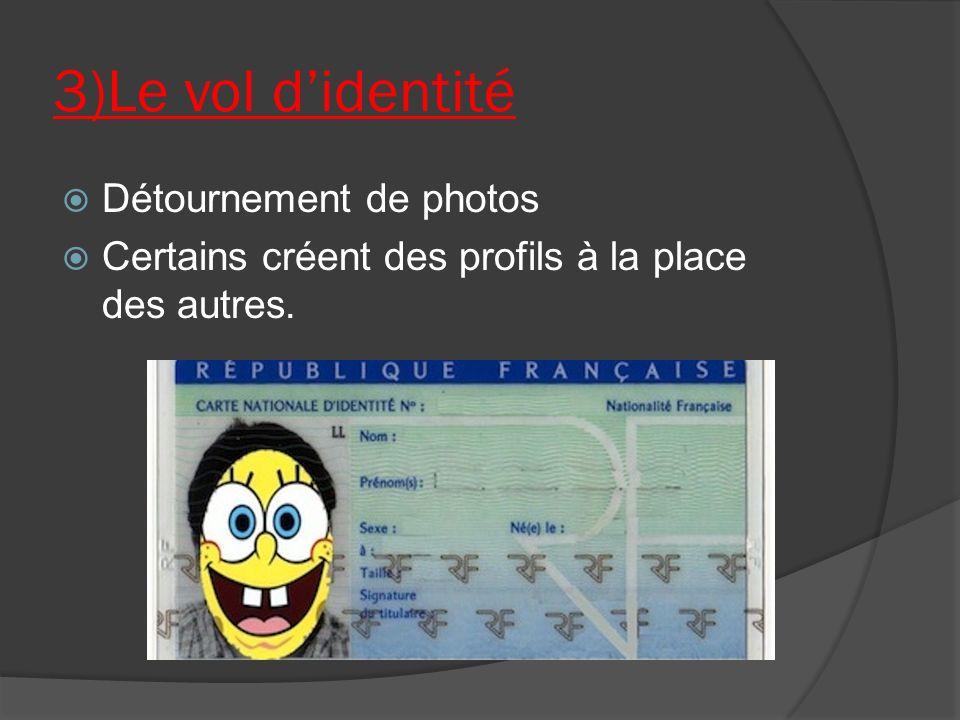3)Le vol d'identité Détournement de photos