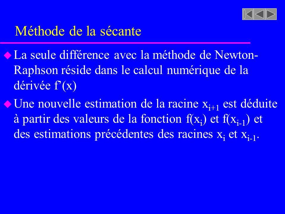Méthode de la sécante La seule différence avec la méthode de Newton-Raphson réside dans le calcul numérique de la dérivée f'(x)