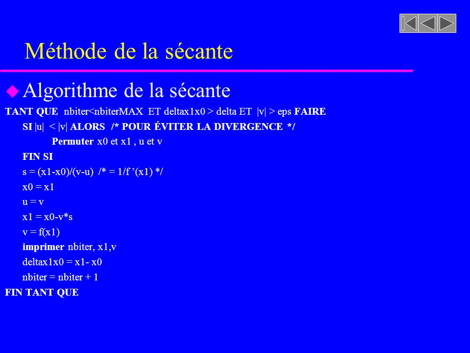 Méthode de la sécante Algorithme de la sécante