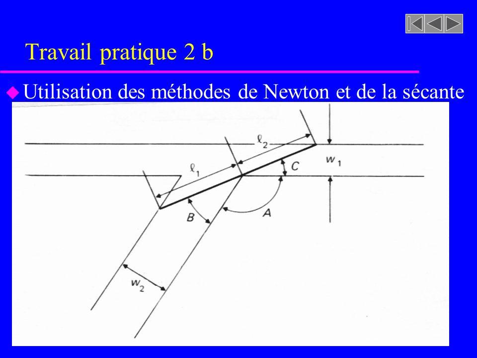 Travail pratique 2 b Utilisation des méthodes de Newton et de la sécante
