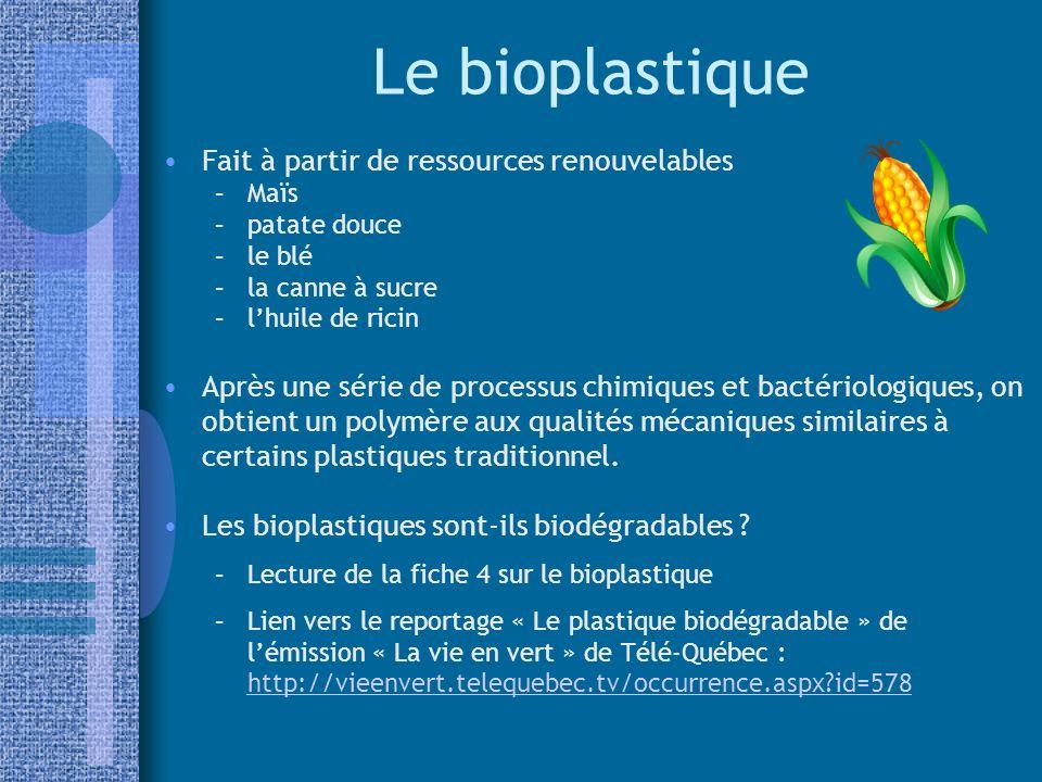 Le bioplastique Fait à partir de ressources renouvelables