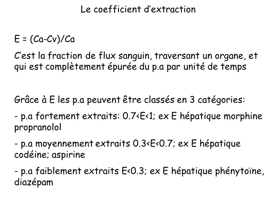 Le coefficient d'extraction