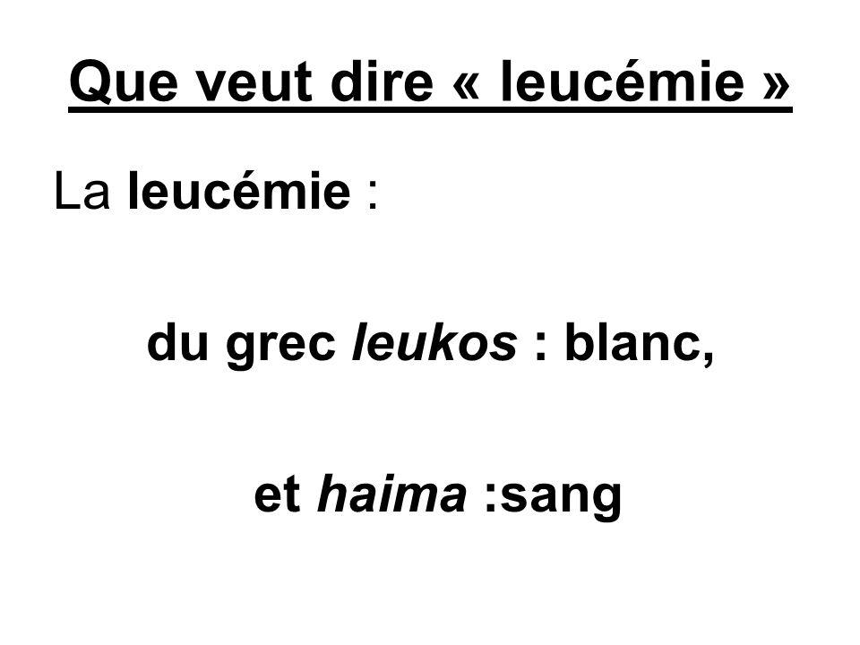 Que veut dire « leucémie »