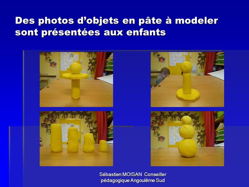 Des photos d'objets en pâte à modeler sont présentées aux enfants
