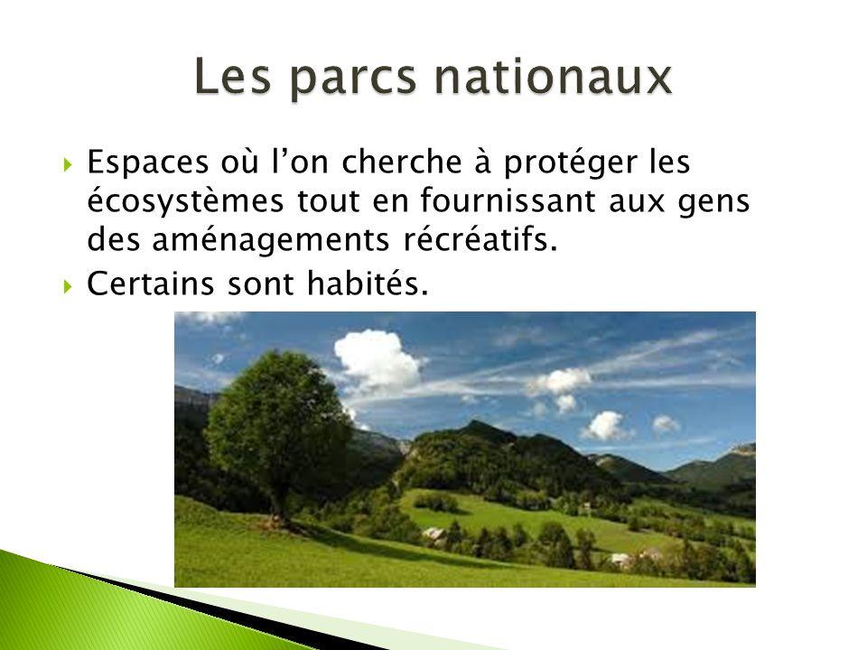 Les parcs nationaux Espaces où l'on cherche à protéger les écosystèmes tout en fournissant aux gens des aménagements récréatifs.