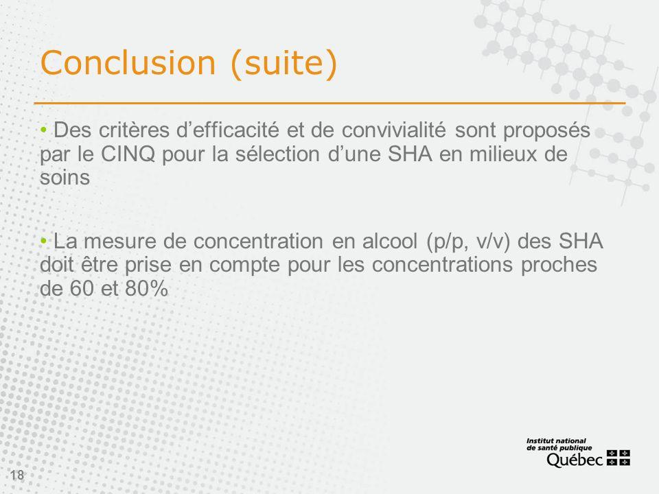 Conclusion (suite) Des critères d'efficacité et de convivialité sont proposés par le CINQ pour la sélection d'une SHA en milieux de soins.