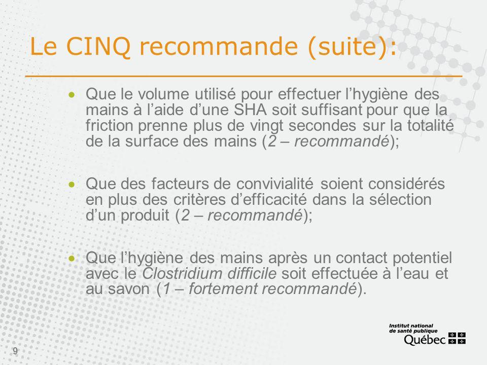 Le CINQ recommande (suite):
