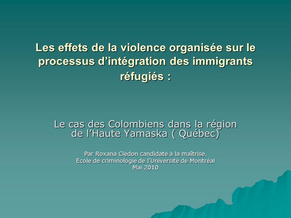 Les effets de la violence organisée sur le processus d'intégration des immigrants réfugiés :