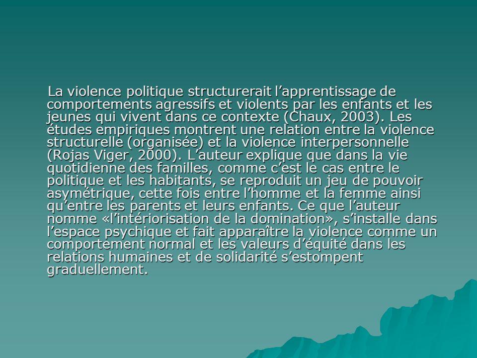 La violence politique structurerait l'apprentissage de comportements agressifs et violents par les enfants et les jeunes qui vivent dans ce contexte (Chaux, 2003).