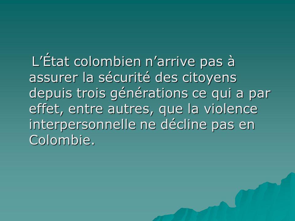 L'État colombien n'arrive pas à assurer la sécurité des citoyens depuis trois générations ce qui a par effet, entre autres, que la violence interpersonnelle ne décline pas en Colombie.