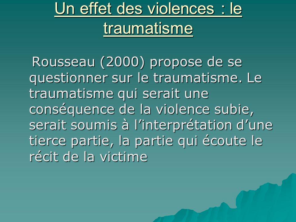 Un effet des violences : le traumatisme