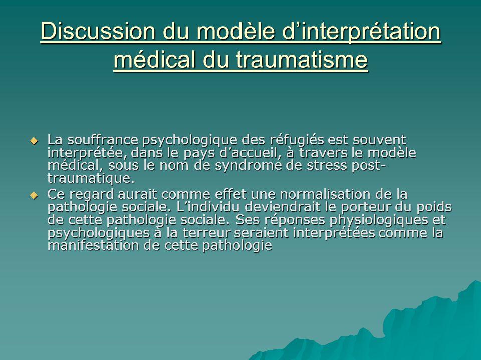 Discussion du modèle d'interprétation médical du traumatisme